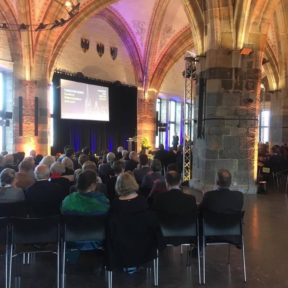 """Bundespräsident Frank-Walter Steinmeier zu Gast im Rahmen der Festwoche """"40 Jahre Welterbe Aachener Dom"""" im Krönungssaal."""