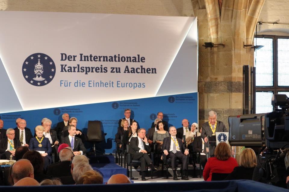 Verleihung des Internationalen Karlspreises zu Aachen an den Generalsekretär der Vereinten Nationen António Guterres im Krönungssaal.